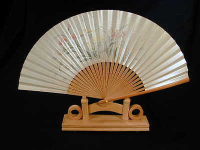 Japanese hand painted fan with wood stand