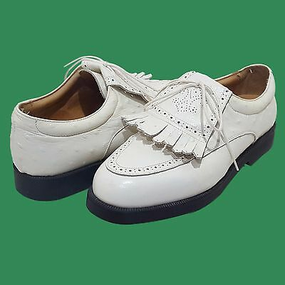 ITALY White Full Quill Ostrich Womens Golf Shoes Tags GREEN GRASS Size 8.5 MINT