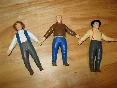 Vintage 90's The Three Stooges Moe, Larry & Curly rubber action figures