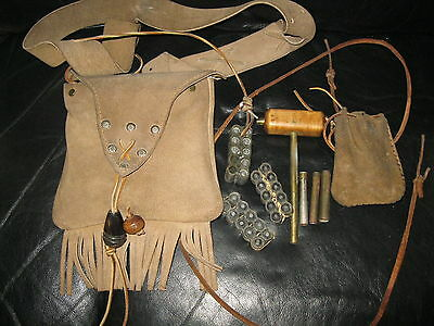 Vintage Suede Leather indian pouch with ammunition ammo  tools