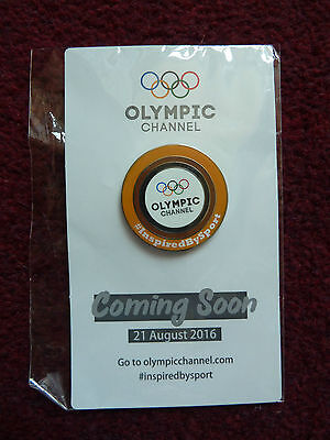 Olympics Rio 2016 Olympic Channel Official Orange Ring Pin Brand New