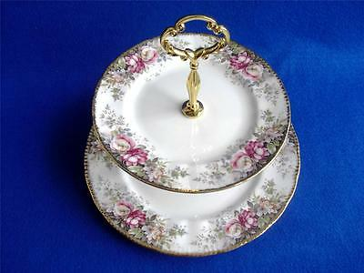 Queen Anne China Summer Rose 2 Tier China Cake Stand Pink Roses