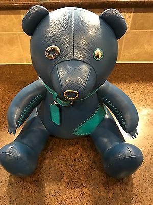 "NWT Coach Limited Edition Collectible Blue Leather Teddy Bear ""Ace"" F56844 $550"