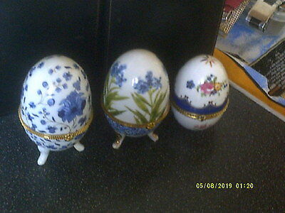 3 X Porcelain Handpainted Eggs,ornaments/trinket Boxes,gilt Fittings