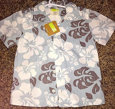 Baby Boy Clothing 18- 24 months CRAZY 8 Summer Top Shirt Floral Blue NWT