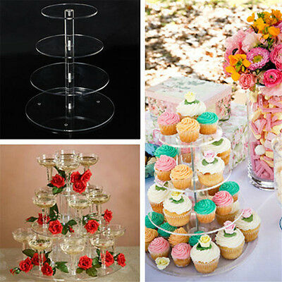 3 4  Tiers Circle Acrylic Cupcake Party Wedding Cake Stand Decorating Carry New
