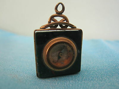 ANTIQUE Marble ? COMPASS Watch  FOB Pendant CHARM Victorian Unique Jewelry