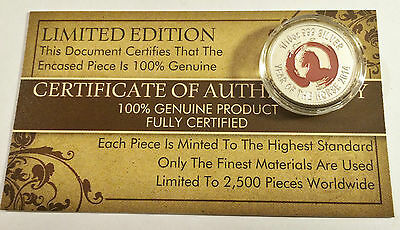 """New 2014 Coloured """"YEAR OF THE HORSE"""" 1/10th OZ 999.0 Pure Silver Proof Coin a"""