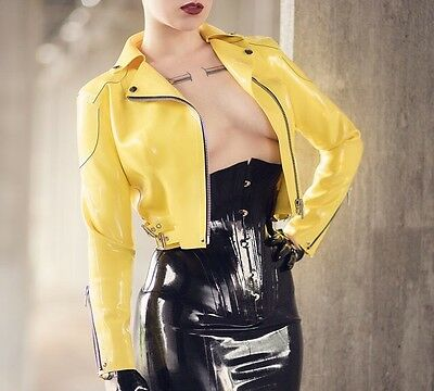Yellow Latex Rubber Biker Jacket Lacing Lilith