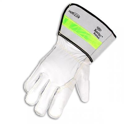 "3 PAIRS  of Cowhide Leather Linesman REFLECTIVE Stripe 3"" Cuff Work Gloves"