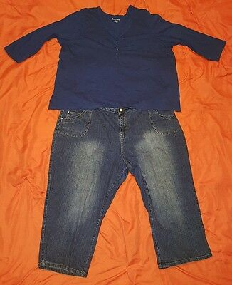 Pre-Owned! Women Lots Of 2, 3/4 Blouse Size 3X & Shorts Size 28