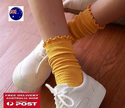 NEW Women Girls Ankle Fancy Retro Cotton Ruffle frilly Loose Fashion Short Socks