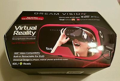New - Red Tzumi Dream Vision Virtual Reality Headset Plus VR Apps and Ear buds