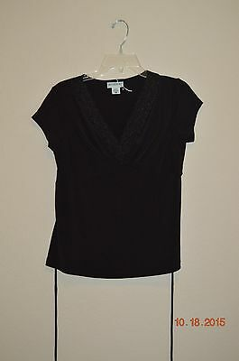 Motherhood Maternity Short Sleeve Black V-Neck Top Lace Trim Size Small