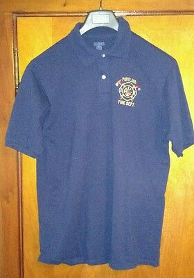 Portland Fire Department Embroidered Blue Polo Shirt Large Jerzees