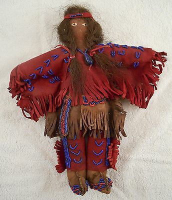 Vintage Antique Native American Indian Tanned, Dyed Leather, Beaded Doll