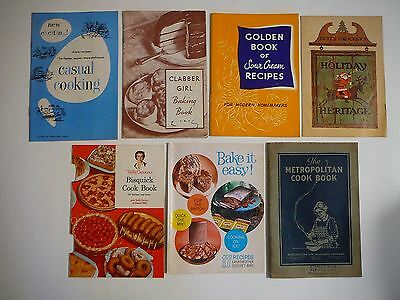 Vintage Lot Of 7 Cooking Recipe Booklets Pamphlets-Clabber Girl/Betty Crocker's