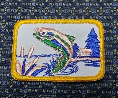 """BASS FISHING (PEACH) Iron or Sew on Patch 3""""X2"""""""