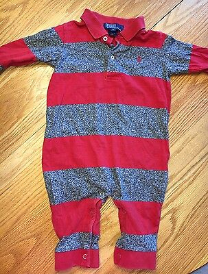 Baby Boy Polo Ralph Lauren Red & Gray One Piece Outfit Size Medium 9-12 Months