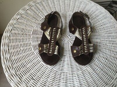 Ladies Miss Shop brown and gold size 7 sandals- great preloved condition!