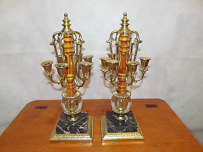 Dilly Mfg. Co. (2) Antique Brass Marble Glass Ornate Candlesticks Candelabras