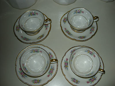 Castleton Bouquet Cups and Saucers x4   EC