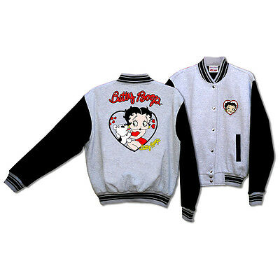 Licensed Betty Boop and Pudgy Her Pet Dot Baseball Jacket Gray Large BJ-9028