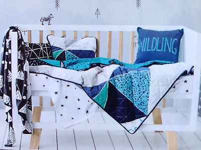 """Adairs Kids """"Wildling"""" Reversible Quilted Navy Cotton COT Quilt Cover Set"""