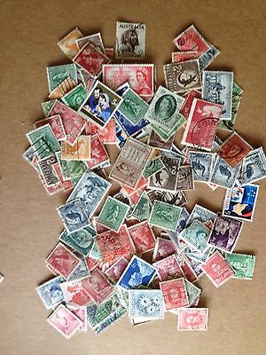 260+ Australia Pre-Decimal Stamps, 90+ Different, Cancelled Off-Paper, 1913-1965