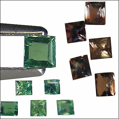 0.38 Ct / 5 PCS Natural Unheated Alexandrite Green To Purple Color Princess Cut