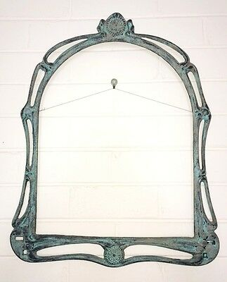 Vintage Metal Wall Mirror Frame With Blue Patina Finish