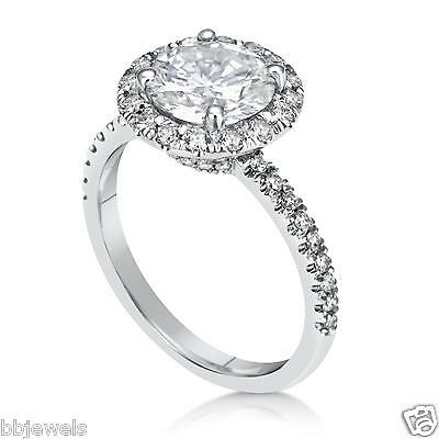 3.75 ct Round Cut Diamond Engagement Ring VVS1/D Real 14K White Gold