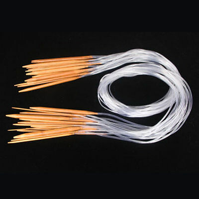 40cm-120cm 18Sizes Double Point Carbonized Circular Bamboo Knitting Needles New