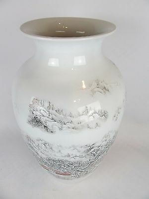 Large Authentic Chinese Porcelain Vase - Hand Made -  Village Snow Trees Scene