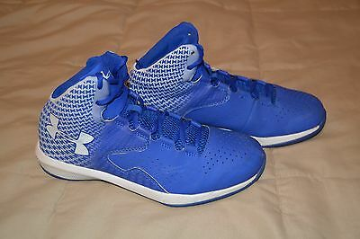 Under Armour Boys Youth Royal Blue & White Basketball Shoes- Size 6.5