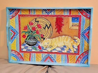 Cat Tray Serving Wood Southwest Design Colors  Wall Hanging
