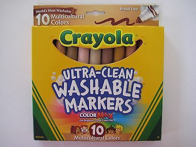 BRAND NEW 10 Crayola Ultra-Clean Washable Markers - 10 Multicultural Colors