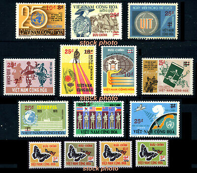 SOUTH VIETNAM 1974-75 Complete 10 Regular + 4 Postage Due Surcharged Stamps MNH