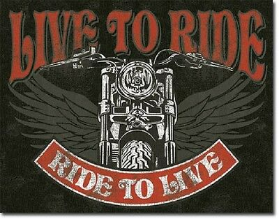 Live to Ride Live Winged Motocycles Harley Indian Sturgis Wall Decor Metal Sign