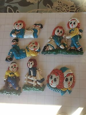 Raggedy Ann and Andy Vintage 1977 Wall Plaques Bobbs Merrill Co. - 6 pieces