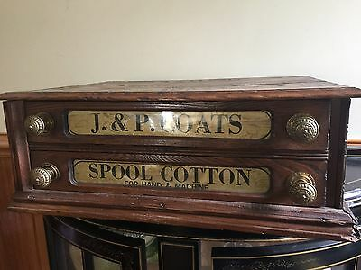 J & P Coates Spool Cotton Reel Sewing Cabinet With Drawers C1920's Shop Counter