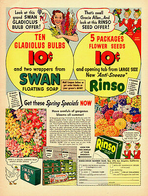 1940s vintage Ad, Swan Soap, Rinso Dish and Laundry Soap, Garden Club  122713