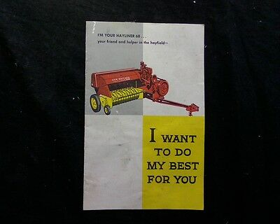 New Holland Hayliner NH 68 Hay baler service booklet owners manual book brochure