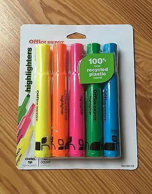 Office Depot Chisel Tip Highlighters 5-ct. Assorted Colors