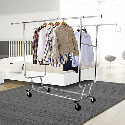 Double Garment Heavy Duty Grade Collapsible Clothing Rolling Rack Hanger