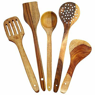 Craftgasmic Wooden Spoons for Cooking and Serving Kitchen Tools, Set of 5