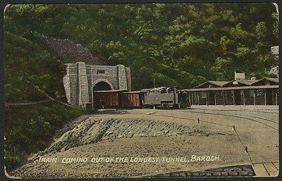 k1759)   OLD POSTCARD OF TRAIN COMING OUT OF LONGEST TUNNEL,BAROG INDIA