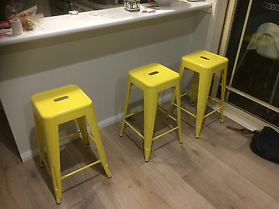 Stools (3) of Yellow - The Worx Large bar stools as purchased from Fantastic