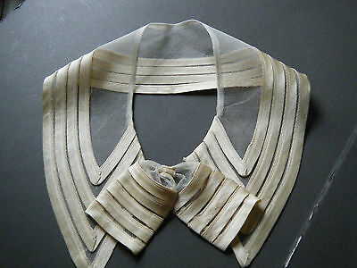 EDWARDIAN time lace Collar &bow hand  great design cotton net ribbon sateen