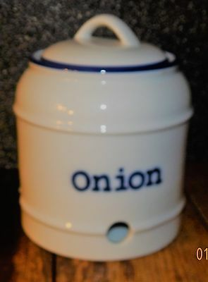 World Market Hand Painted Ceramic Onion Canister